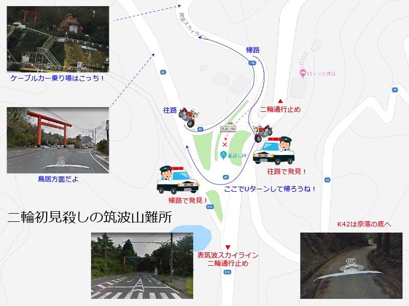 解説:筑波山の二輪初見殺し交差点